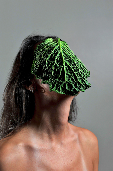 emanuela franchini photography, Cabbage, self portrait with food on face