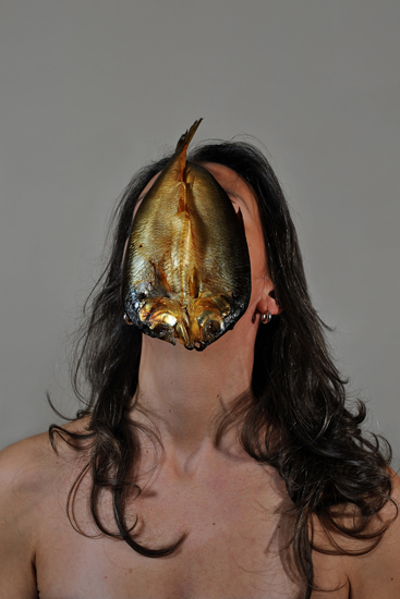 emanuela franchini photography, Fish, self portrait with food on face